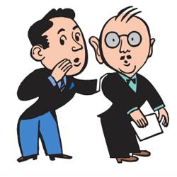 Caricatura de dos personas de traje chismorreando una de ellas al oido del la otra en relación con los sistemas de denuncias internas en las empresas