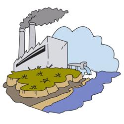 Dibujo de una industria que está contamienando un rio mediante sus desagues. El dibujo está relacionado con las consecuencias legales en la contaminación del suelo industrial