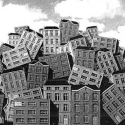 La imagen muestra un conjunto de casas  colocadas unas sobre otras en relación a los aprobechamientos en materia urbanística