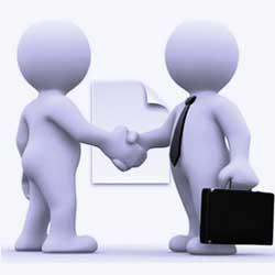 La imagen muestra dos personajes animados que representan a dos personas, las cuales se dan la mano en referencia a la Nueva Ley de contratos del sector público en Andalucía