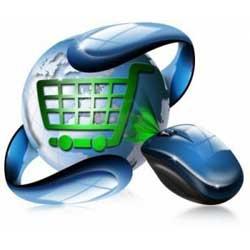 La imagen muestra una bola que simula a una bola del mundo y dentro de ella aparece un carrito de compra y junto a él un ratón de ordenador e relación con la ley general para defensa de los consumidores y usuarios