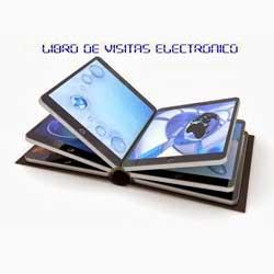"""La imagen muestra un libro de visitas electrónico abierto, y sobre él aparecen las palabras """"libro de visita electrónico"""""""