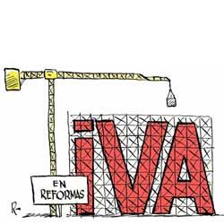 La imagen muestra un dibujo en el que aparecen las letras IVA y a su lado una grua construyendo las letras IVA