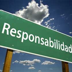 """La imagen muestra un cartel verde en el que pone """"responsabilidad"""""""