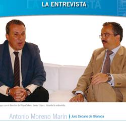 Fotografía de portada en la entrevista de HispaColex a Antonio Moreno Marín. Juez Decano de Granada