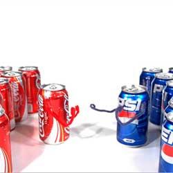 La imagen muestra varias latas de coca-cola en el lado izquierdo y a la derecha varias latas de Pepsi y entre ambas simulan una lucha en referencia a la competencia desleal en la publicidad prohibida