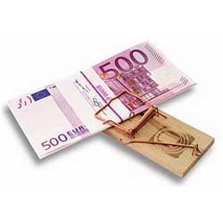 La imagen muestra un billete de quinientos euros atrapado por una trampa de ratones en referencia al proceso monitorio para el recobro de deudas