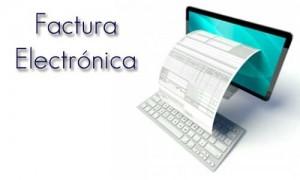 """La imagen muestra un ordenador imac del cual sale de su pantalla una factura. Junto a él aparace la frase """"factura electrónica"""""""