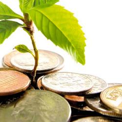 Fotografía de unas monedas de las que nace una planta en referencia a la ley de economía sostenible