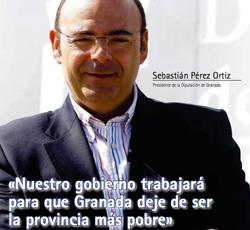Fotografía de Sebastián Pérez Ortiz, Presidente de la Diputación de Granada en la portada de la entrevista realizada por HispaColex