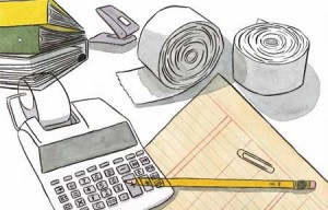 Dibujo en el que aparece una calculadora, papel, bolígrafo, archivadores y grapadora sobre una mesa en relación con los pagos del IVA para las empresas