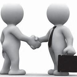 Imagen de dos figuras animadas con corbata y maletín que representan a dos empresarios estrechando sus manos en representación de la indemnización por paralización de la actividad en la empresa