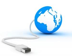 Imagen de una bola del mundo con un cable USB que sale de ella haciendo referencia al registro electrónico