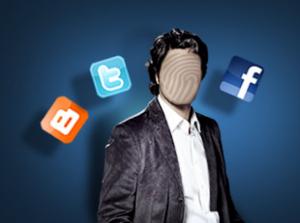 Imagen de un hombre son cara y le rodea los logotipos de las redes sociales de Blogger, Twitter y Facebook en referencia a la suplantación de identidad en las redes sociales