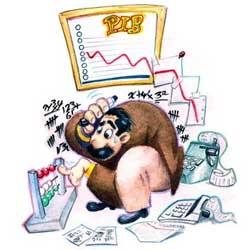 Caricatura de un administrador de una sociedad realizando sus tareas en la responsabilidad de las deudas sociales de las sociedades