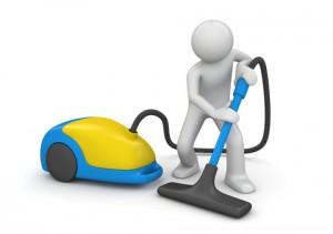 Imagen de un hombre animado pasando la aspiradora al suelo con referencia a las mejoras en el sistema de empleados del hogar