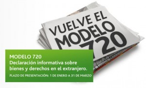 """La imagen muestra un periódico con el titular """"Vuelve el modelo 720"""" el cual se regulariza los bienes y derechos en el extranjero"""