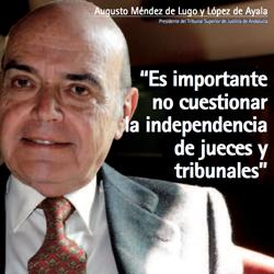 Fotografía de portada a Augusto Méndez de Lugo y López de Ayala. Presidente del Tribunal Superior de Justicia de Andalucía en su entrevista por HispaColex