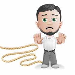 Dibujo de un hombre con las manos en alto y una cuerda atada al pie derecho. La imagen hace referencia al concurso de personas físicas en el ámbito jurídico