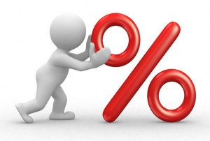 Imagen de una animación que simula a una persona empujando un simbolo de porcentaje haciendo referencia a la nueva modificación del IVA a través del criterio de caja