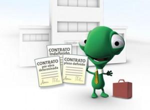 Imagen de un lagarto animado vestido de corbata y con un maletín. En su mano derecha tiene varios tipos de contratos