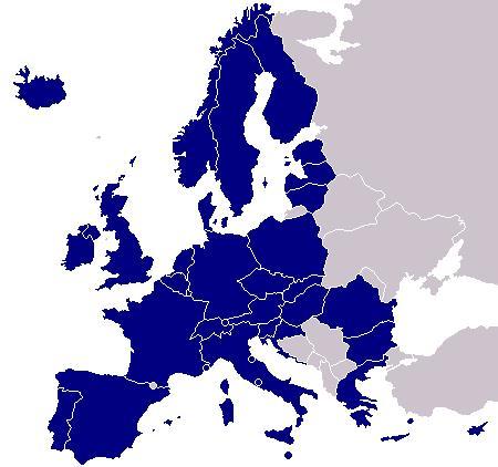 Mapa de Europa en relación con la zona única de pagos en Europa y su inminente realidad (SEPA)