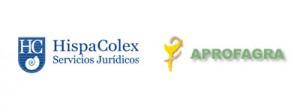 Los logotipos de HispaColex y APROFAGRA en simbolo de colaboración en la ponencia de la economista Cristina Ruiz en APROFAGRA