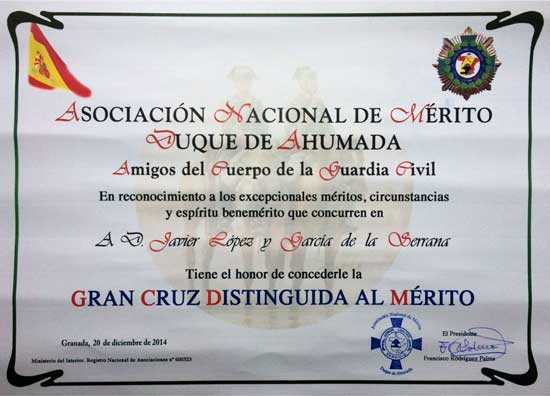 Diploma del Premio Mérito Duque de Ahumada
