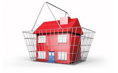 Una casa dentro de una cesta de la compra en referencia a la dación en pago