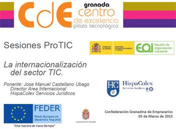 Cartel del evento TIC en el que participa el director del área internacional de HispaColex, José Manuel Castellano, con una ponencia sobre Internacionalización empresarial