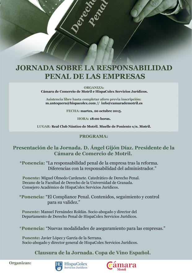 Cartel de la jornada de la Responsabilidad Penal de las empresas que se celebra en Motril, Granada