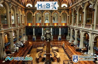 Fotografía del MAB con los logos de Neol Bio, empresa granadina que comenzará a cotizar, y el logo de HispaColex, empresa asesora