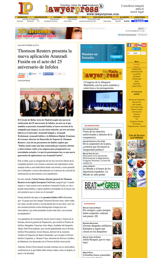 thomson-reuters-25-aniversario-infolex-premio-hispacolex-abogados