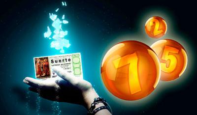 """Una mano que sujeta un boleto de la lotería de navidad en el que se puede leer """"suerte"""""""