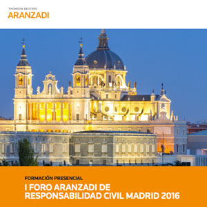 Cartel del foro Aranzadi sobre Responsabilidad Civil en Madrid