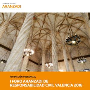 Cartel del foro Aranzadi sobre Responsabilidad Civil en Valencia