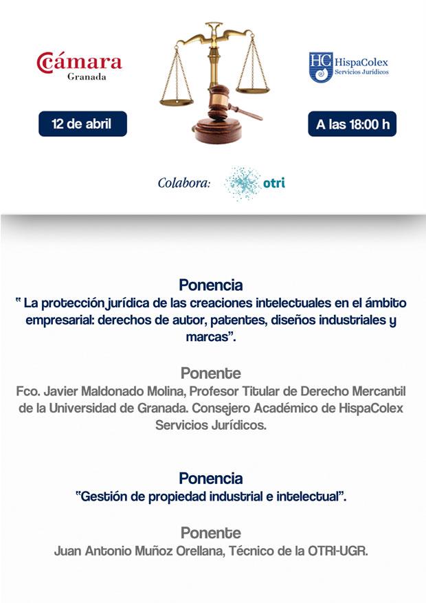 Cartel completo con ponentes para la Jornada de Protección de la propiedad industrial e intelectual organizado por HispaColex y la Cámara de Comercio de Granada