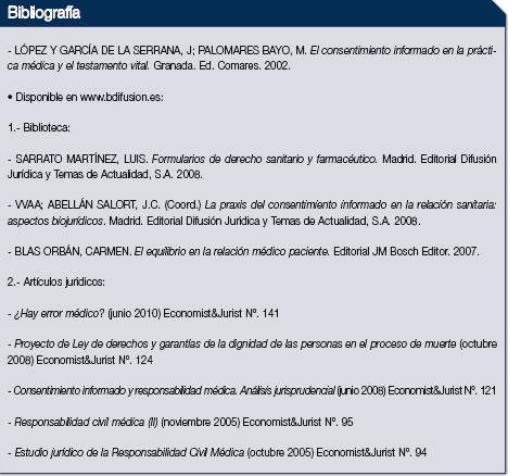 La imagen muestra la bibliografía usada en el artículo del consentimiento informado