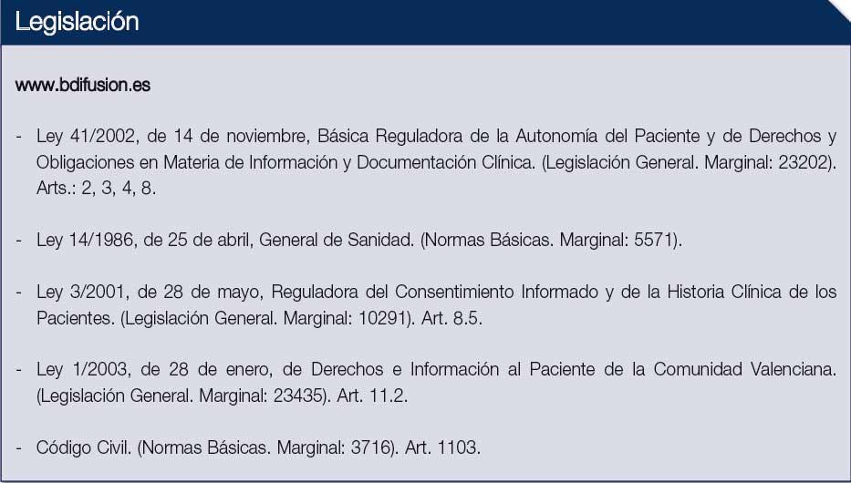 La imagen muestra la legislación referente al consentimiento informado