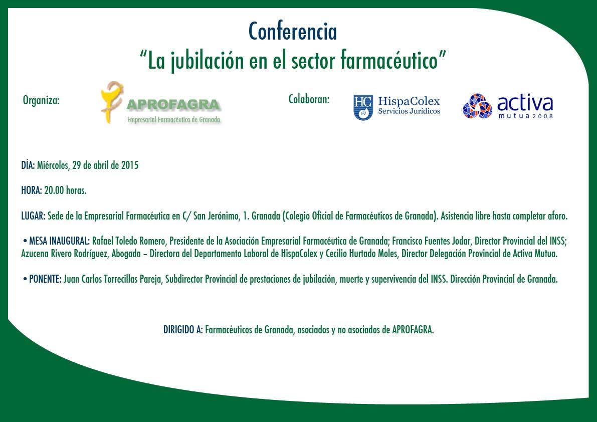 Programa de la Jornada sobre jubilación en el sector farmacéutico