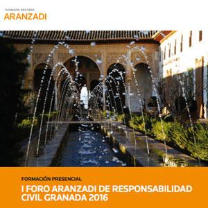 Cartel del foro Aranzadi sobre Responsabilidad Civil en Granada