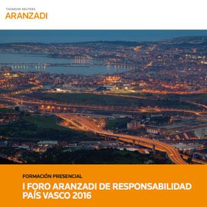 Cartel del foro Aranzadi sobre Responsabilidad Civil en el País Vasco
