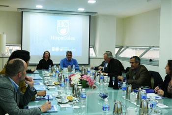 Reunión en la sede central de HispaColex en Granada con la asociación de constructoras y promotoras de Granada con motivo del octabo Café de Empresa