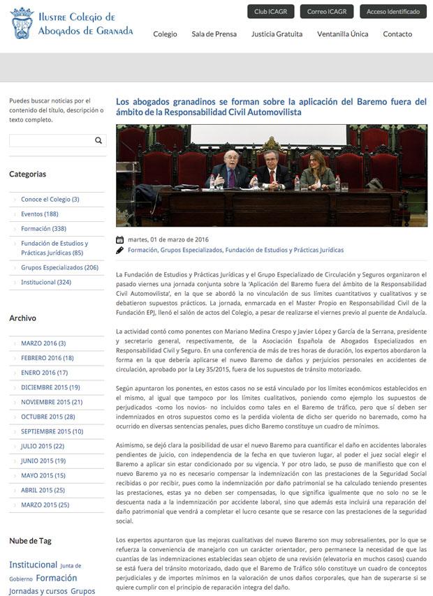 Noticia de el Colegio de abogados de Granada en la que aparecen Javier López y García de la Serrana, director de HispaColex, y Raquel Ruíz, directora del departamento de Seguros de HispaColex, como instructores a los abogados granadinos sobre el nuevo baremo